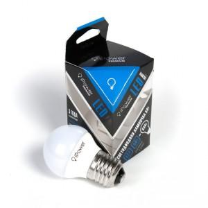 LED лампочка iPower, IPPB5W4000KE27, Premium, 5Вт, 4000K (белый свет), E27, 470LM, поликарбонат, белый