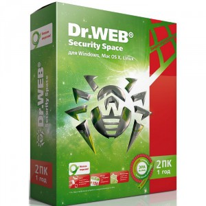 Антивирус DrWEB Security Space 2 ПК на 1 год BHW-BK-13M-2-A3