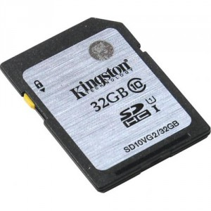Карта памяти SD 32Gb Kingston Class 10 SDHC SD10VG2/32GB