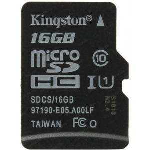 Карта памяти microSDHC 16Gb Kingston Canvas Select 80R Class 10 UHS-I SDCS/16GBSP