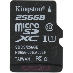 Карта памяти microSDXC 256Gb Kingston Canvas Select 80R Class 10 UHS-I SDCS/256GBSP