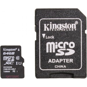 Карта памяти microSDXC 64Gb Kingston Canvas Select 80R Class 10 UHS-I + SD Adapter SDCS/64GB