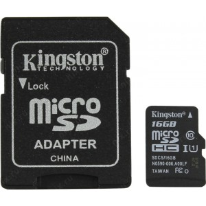 Карта памяти microSDHC 16Gb Kingston Canvas Select 80R Class 10 UHS-I + SD Adapter SDCS/16GB