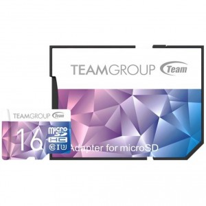 Карта памяти microSDHC 16Gb Team Group Color Card II microSDXC + SD Adapter TCIIUSDH16GU349
