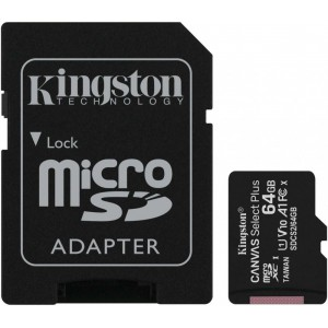 Карта памяти microSD 64Gb Kingston Canvas Select Plus SDCS2/64GB Class 10 UHS-I